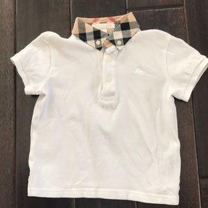 Boys Burberry white polo shirt